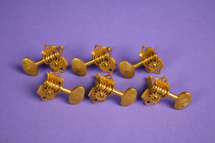 1930 Grover Gold Guitar Peg Butterbean Engraved Knobs GOLD, Excellent, Call For Price!