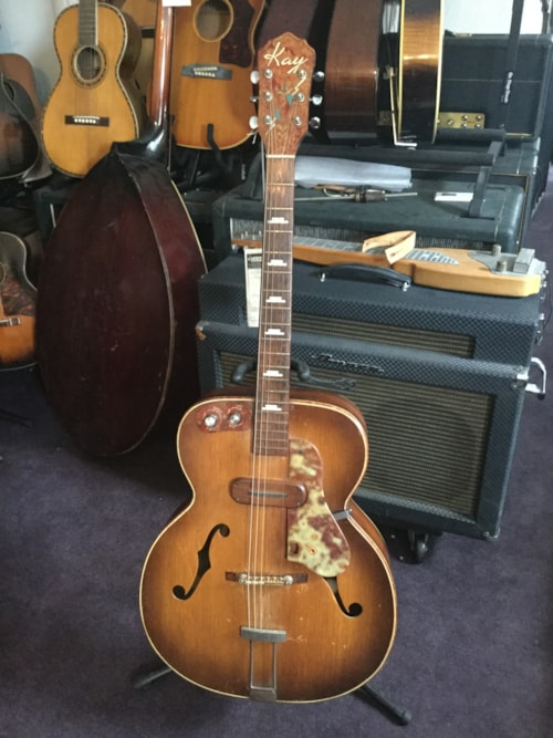 1950 kay sherwood deluxe archtop electric guitar tobacco burst guitars hollow body mikes music. Black Bedroom Furniture Sets. Home Design Ideas