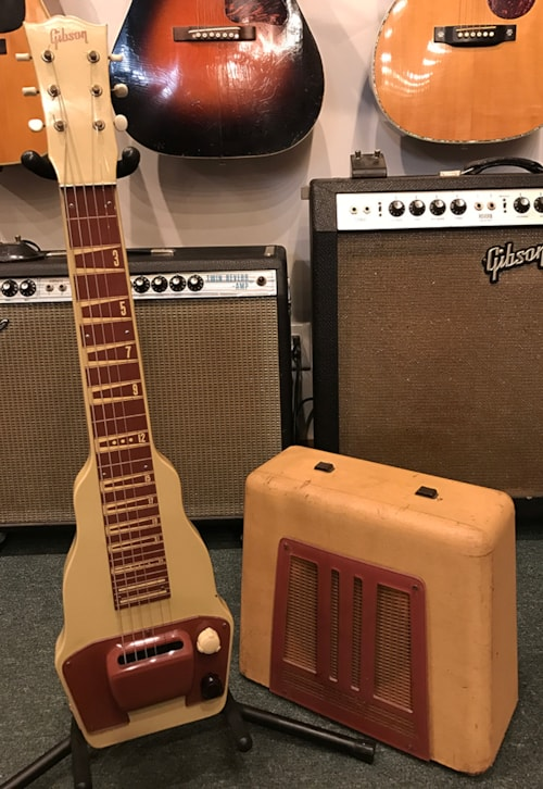 1951 gibson br 9 electric hawaiian guitar and amplifier beige with cremona brown amps. Black Bedroom Furniture Sets. Home Design Ideas