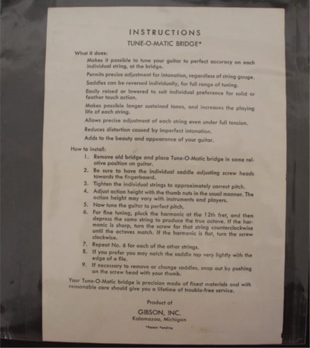 1956 Gibson 50's Tune-O-Matic Instructions Sheet  Not a Re-print White with black print, Excellent