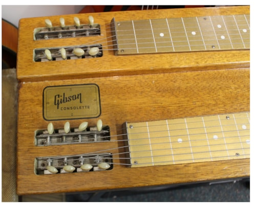 1956 Gibson Consolette Double Neck Steel  Natural Korina, Excellent, Original Hard