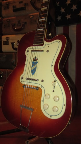 1956 Silvertone 1382L Thin Twin Jimmy Reed Sunburst, Excellent, Hard, $1,795.00