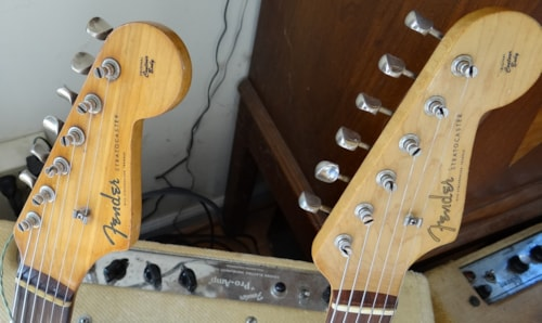 1959 Fender® Stratocaster® w/ rare 9 screw green guard Sunburst w/ 9 screw guard, Fair, Original Hard