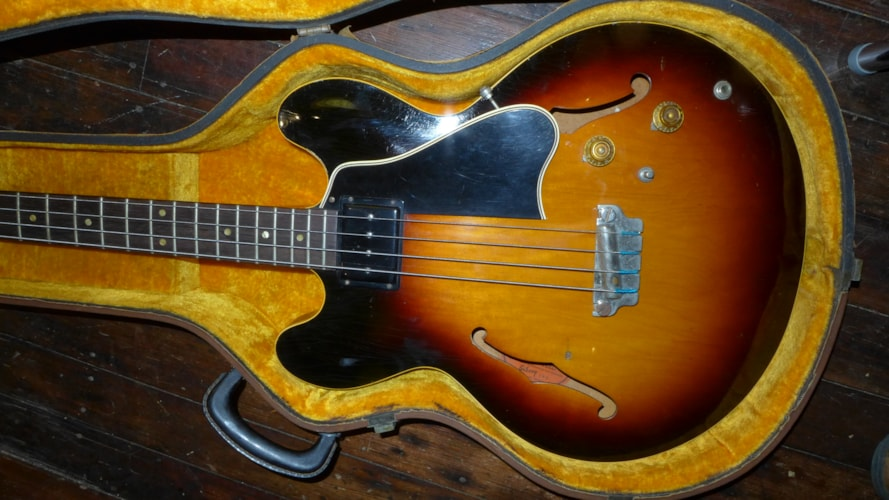 1959 Gibson EB-2 Sunburst, Excellent, Hard, Call For Price!