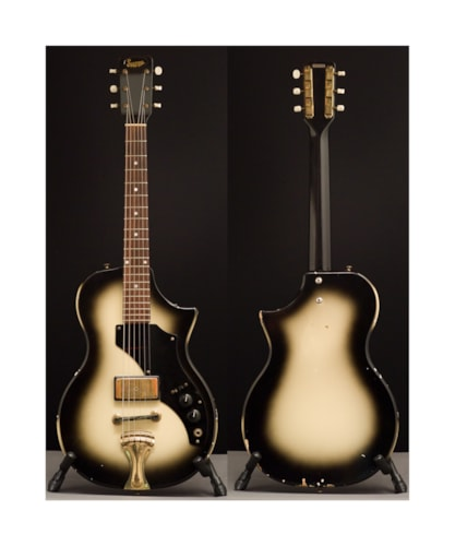 1959 Supro 3/4 Scale Electric two color burst, Very Good, Original Soft, $475.00
