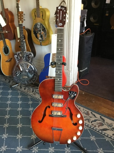 1960 Harmony Rocket (3 Pickup) Hollow Body Electric Guitar Cherryburst, Excellent