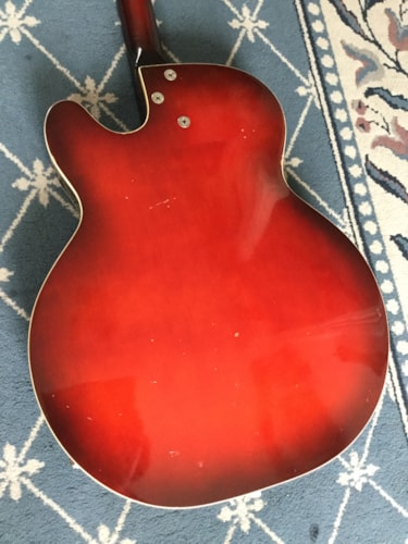 1960 Harmony Rocket (3 Pickup) Hollow Body Electric Guitar Redburst, Very Good