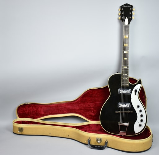 1960 Silvertone 1423 Jupiter Original Vintage Black Electric Guitar USA W/OH Black, Very Good, Original Hard, $1,395.00