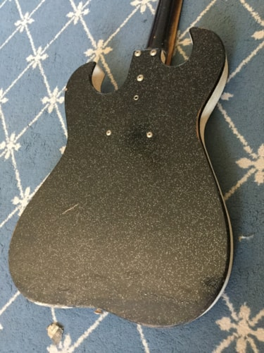 1960 Silvertone Electric Guitar Black Sparkle, Excellent