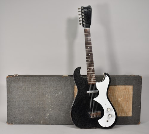 1960s Silvertone 1448 Amp In Case Black Finish Vintage Electric Guitar w/OHSC