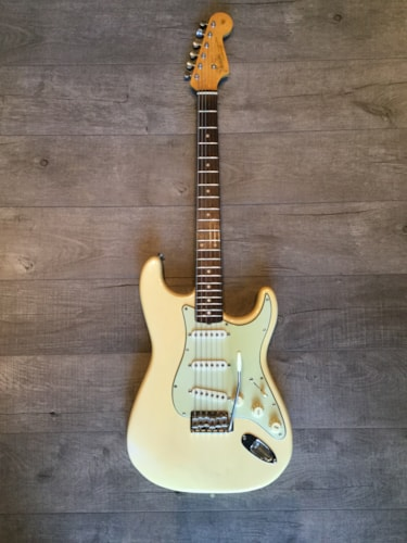1961 Fender® Stratocaster® Olympic White Refin, Excellent, Original Hard, $10,500.00