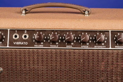 1961 Fender Super (Brownface with Oxblood Grill) Amplifier 6G4 Rough Brown Tolex with Maroon