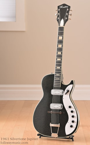 1961 Silvertone Jupiter Sparkle-Black, Excellent, Original Soft, $1,255.00