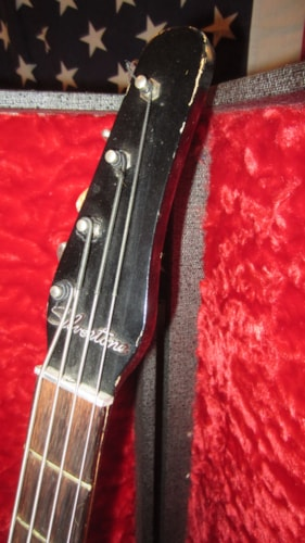 1961 Silvertone U-1 Bass  Black, Excellent, Original Hard, $999.00