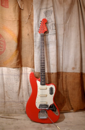 1963 Fender® Bass VI Fiesta Red, Very Good, Hard, $5,500.00