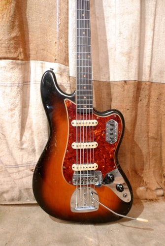 1963 Fender Bass VI Sunburst - Refin, Very Good, Hard