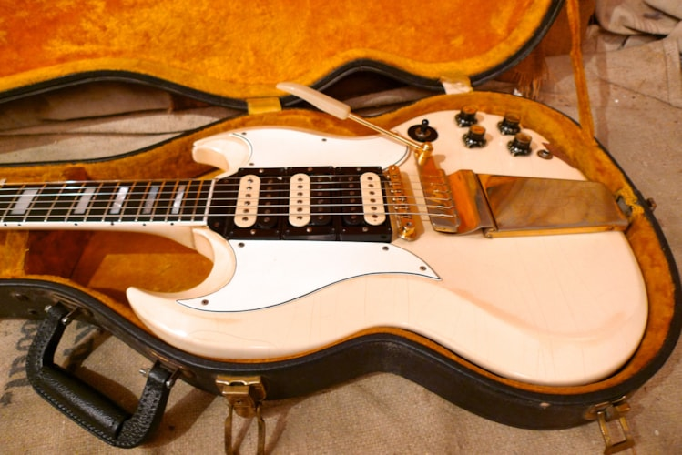 1963 Gibson  SG Custom  Polaris White, Good, Original Hard