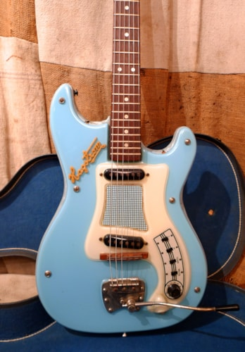 1963 Hagstrom I Kent Powder Blue, Very Good, Original Hard, $875.00