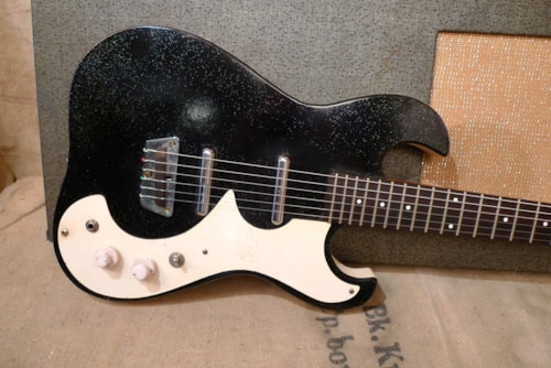 1963 Silvertone by Danelectro 1449 Amp In Case Black Sparkle, Very Good, Original Hard