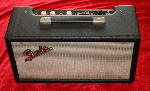 1964 Fender Reverb Tank Model 6G15 Black Tolex with White kn, Excellent