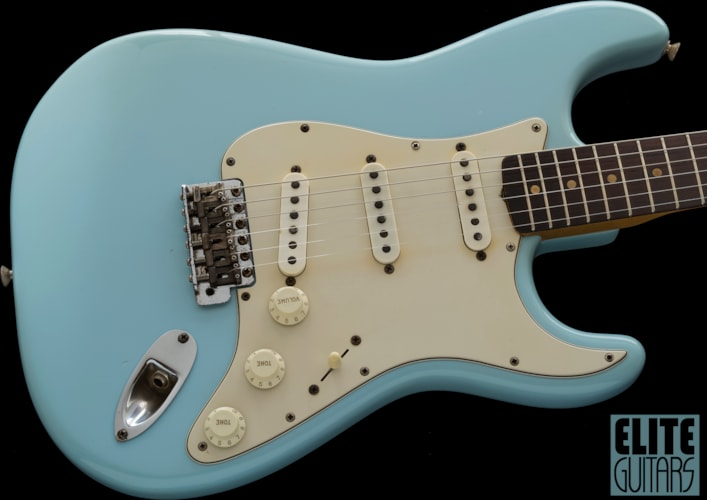 1964 Fender Stratocaster, PRE-CBS, a nice OLD refinish Sonic Blue Repainted, Very Good, Hard
