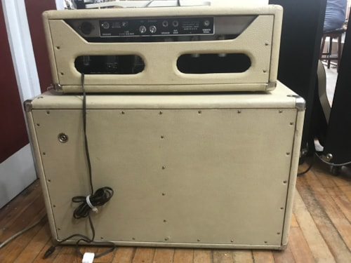 1963 Fender Tremolux Piggyback Head and Cabinet White