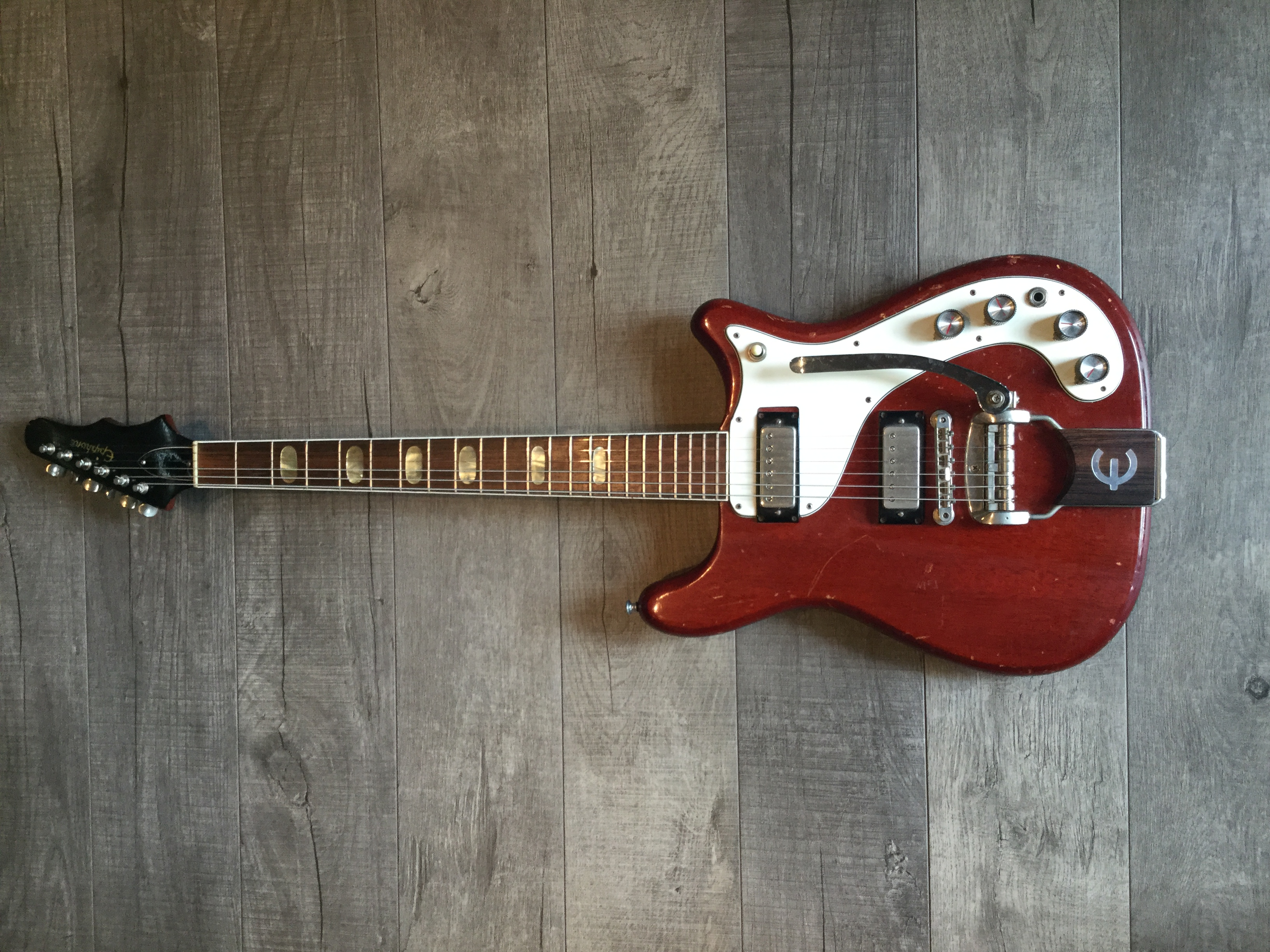 1965 Epiphone Crestwood Custom Cherry, Very Good, Hard, $2,950.00