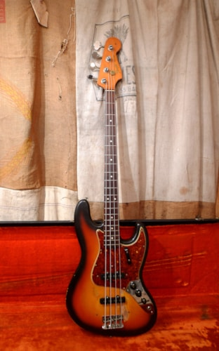 1965 Fender Jazz Bass Sunburst, Good, Original Hard