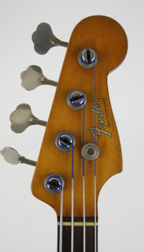 1965 Fender Precision Bass Olympic White Refin, Good, Original Soft
