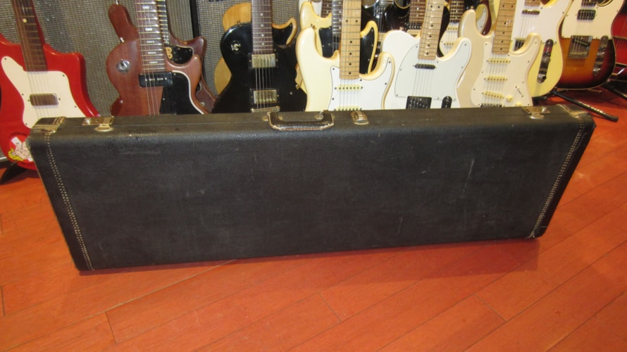 1965 Fender® Precision/Jazz Bass Hard Case Black w/ Red Interior, Excellent, Original Hard, $495.00