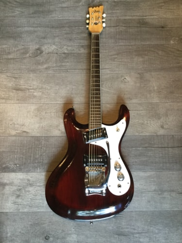 1965 Mosrite Ventures Model Oxblood, Very Good, Hard, $4,500.00