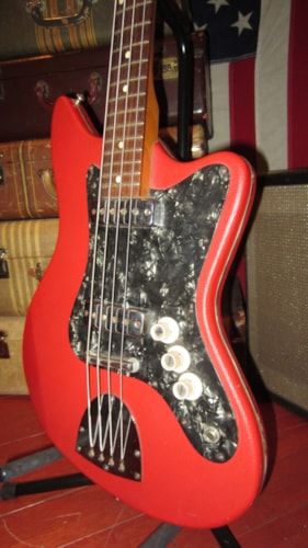 1966 Egmond Typhoon Electric Bass Double Pickup Red, Excellent, GigBag, $799.00