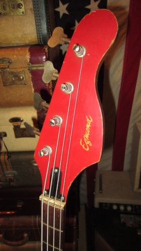 1966 Egmond Typhoon Electric Bass Double Pickup Red, Excellent, GigBag