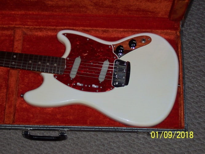1966 Fender Duo Sonic Olympic White, Excellent, Original Hard, $2,495.00
