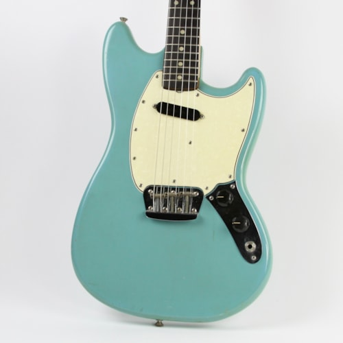 1966 Fender Musicmaster Daphne Blue, Very Good, Original Hard, $1,299.00