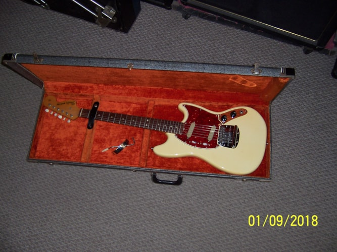 1966 Fender Mustang Olympic White, Excellent, Original Hard, $2,495.00