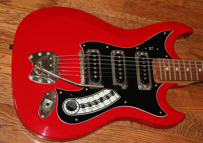 1966 Hagstrom III Red, Very Good, Original Soft