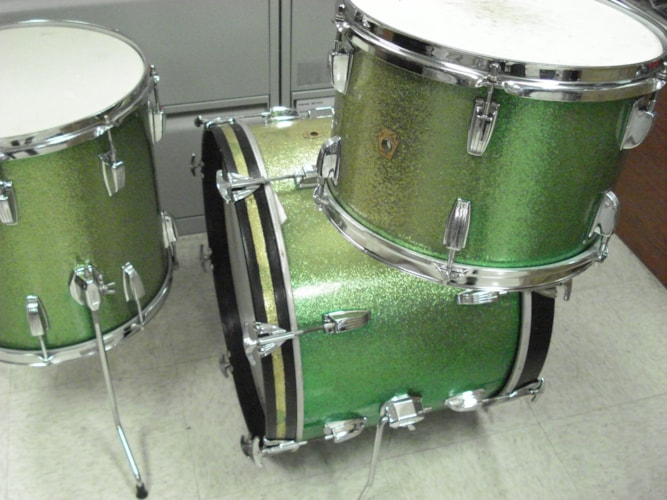 1966 Ludwig Downbeat  Green Sparkle-Lemon Lime, Very Good, $1,499.00