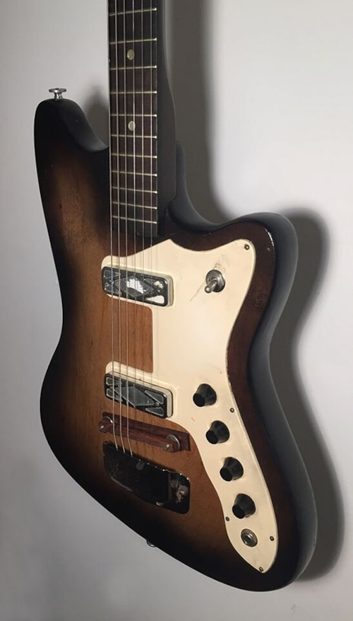 1966 silvertone harmony 1477 shaded walnut guitars electric solid body imperial guitar. Black Bedroom Furniture Sets. Home Design Ideas