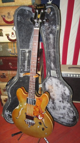 1967 Epiphone EB-232 Rivoli Hollowbody Bass Sparkling Burgundy, Very Good, Original Hard, $2,999.00