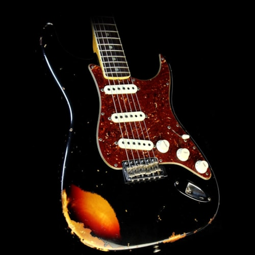 1967 Fender Custom Shop 1967 Stratocaster Relic Aged Black over 3-Tone Sunburst Excellent, $2,899.00