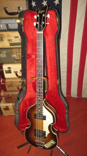 1967 HOFNER 500/1 Beatle Bass Sunburst, Excellent, Original Hard, $2,495.00