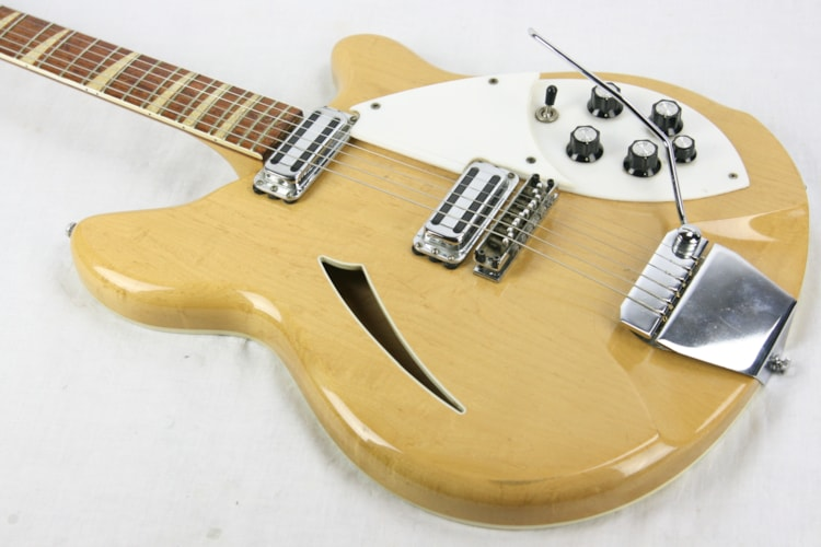 1967 Rickenbacker 365 Mapleglo Toaster Pickups, Checkerboard Binding! 360 VB Mapleglow Natural, Excellent, Original Hard, $2,750.00