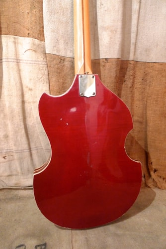 1968 KENT Violin Bass Cherry Red, Very Good, GigBag, $750.00