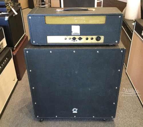1968 Marshall Model 1987 head and Model 1960B cabinet Black Levant, Good