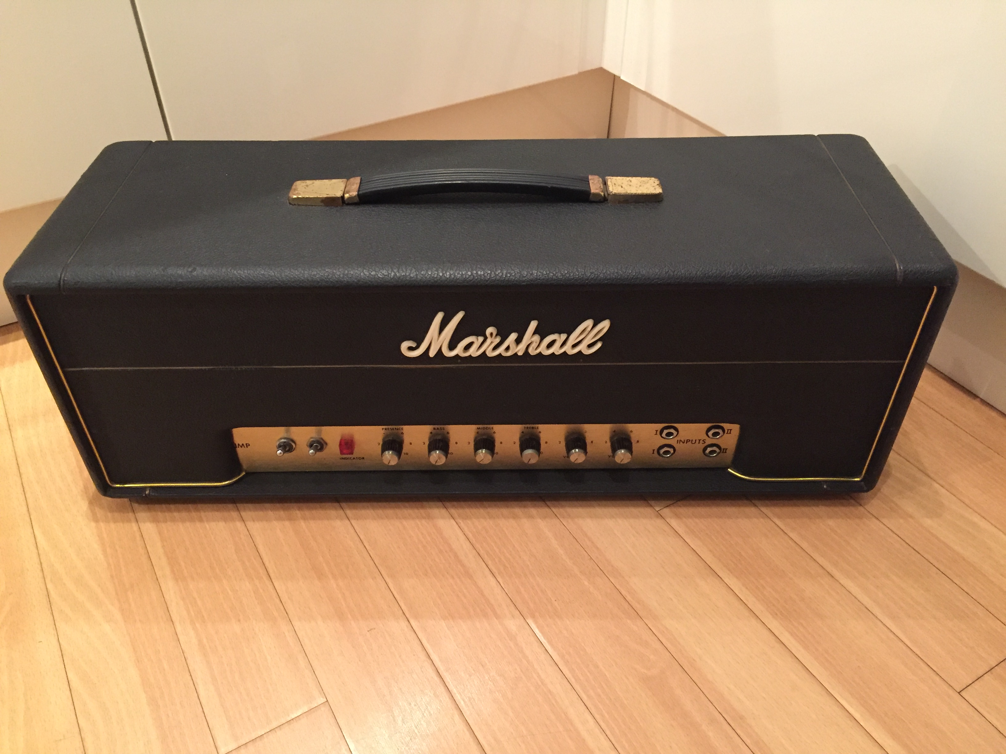 1969 Marshall JMP Small Box Metal Panel 50w Head Black, Mint, $4,675 00