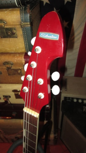 1969 Teisco Silvertone 2 Pickup Electric Solidbody Red, Very Good, GigBag