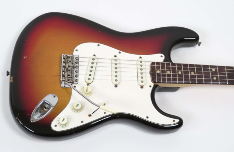 1971 Fender Stratocaster Sunburst, Very Good, Original Hard, $8,500.00