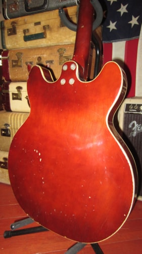 1972 Harmony H420 Hollowbody Bass Burgundy, Excellent, Soft