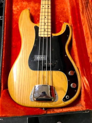 1977 Fender Precision Bass Natural, Very Good, Original Hard, Call For Price!